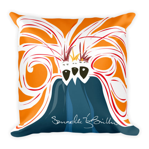 Square Throw Pillow - Reyes Magos Orange | Cojines Puerto Rico