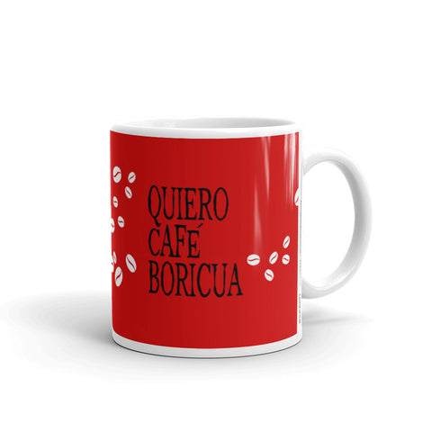 Coffee Mug 11oz Quiero Cafe Boricua Red Taza