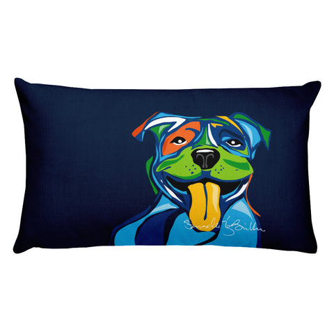 Rectangular Throw Pillow - Perro Dog Pit bull Cojines Puerto Rico