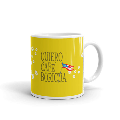 Coffee Mug 11oz Quiero Cafe Boricua Yellow Taza