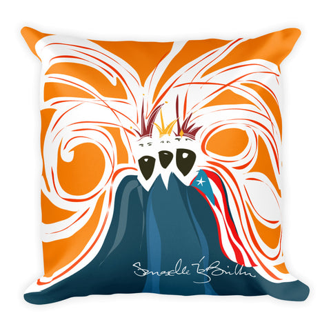Square Throw Pillow - Reyes Magos Bandera Puerto Rico | Cojines