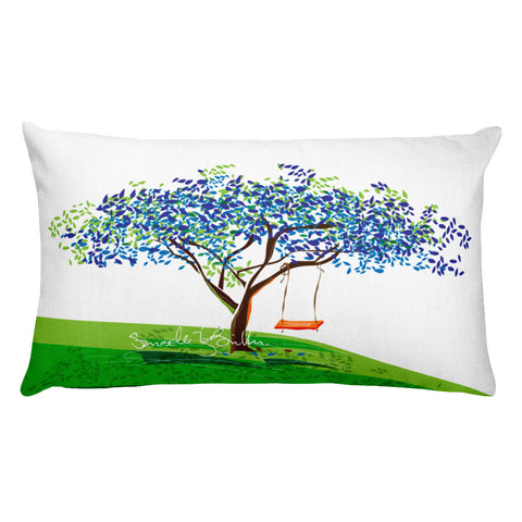 Rectangular Throw Pillow - Flamboyan Azul y Columpio Cojines Puerto Rico