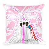 Square Throw Pillow - Reyes Magos Pink | Cojines Puerto Rico