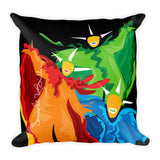 Square Throw Pillow - Vejigantes Danza de Colores Cojines Puerto Rico