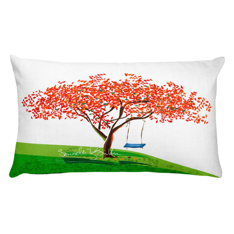 Rectangular Throw Pillow - Flamboyan Anaranjado y Columpio Cojines Puerto Rico