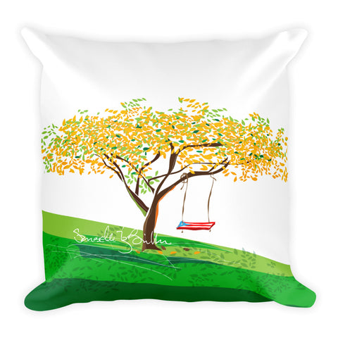 Square Throw Pillow - Flamboyan Amarillo Puerto Rico | Cojines Puerto Rico