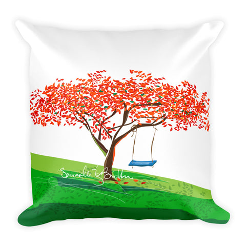 Square Throw Pillow - Flamboyan Anaranjado y Columpio | Cojines Puerto Rico