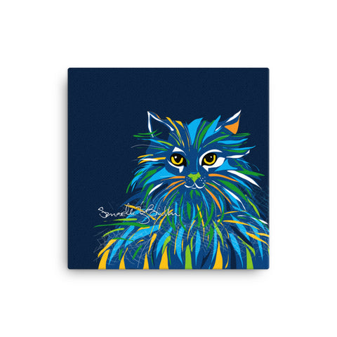 Canvas Print 12in / 16in - Gato Cat Gaze Azul Wall Decor Puerto Rico