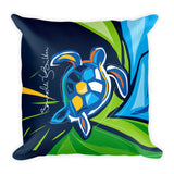 Square Throw Pillow - Tortuga Turtle | Cojines Puerto Rico