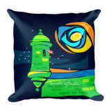 Square Throw Pillow - Garita Bandera | Cojines Puerto Rico