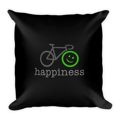 Square Throw Pillow - Cycling Happiness Black | Cojines Puerto Rico
