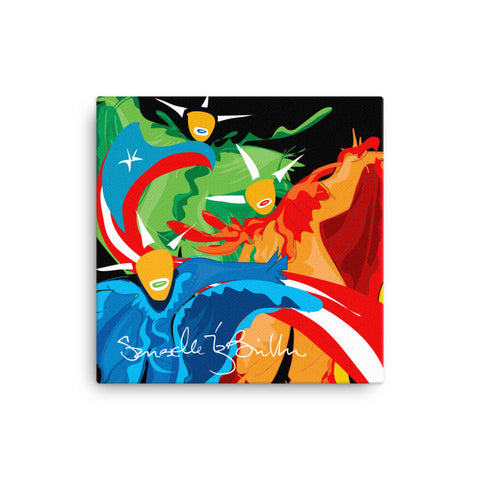 Canvas Print 12in / 16in -Vejigantes Danza de Colores Bandera Puerto Rico Wall Decor