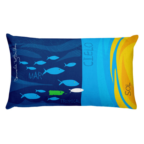 Rectangular Throw Pillow - Mar y Cielo Cojines Puerto Rico