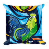 Square Throw Pillow - Gallo Rooster | Cojines Puerto Rico