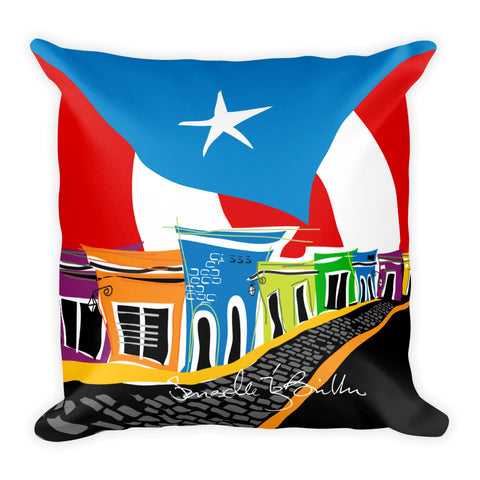 Square Throw Pillow - En Mi Viejo San Juan | Cojines Puerto Rico