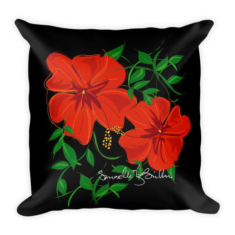 Square Throw Pillow - Amapola Roja | Cojines Puerto Rico