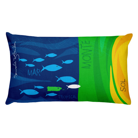Rectangular Throw Pillow - Monte y Mar Cojines Puerto Rico