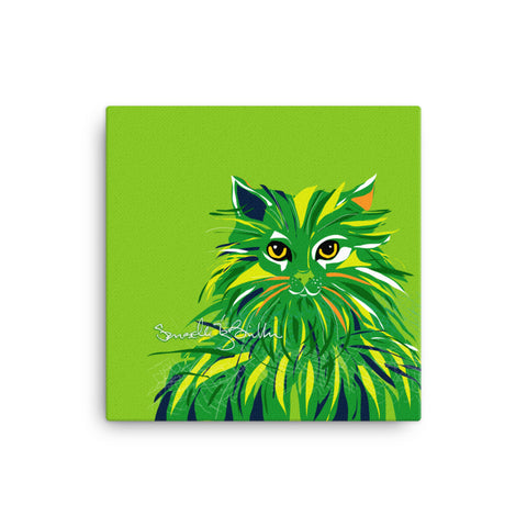 Canvas Print 12in / 16in - Gato Cat Gaze Verde Wall Decor Puerto Rico