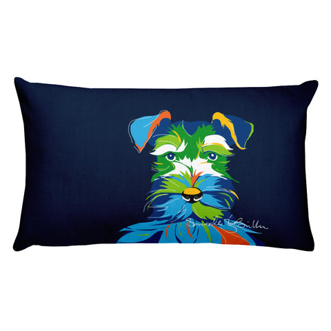 Rectangular Throw Pillow - Perro Dog Schnauzer Cojines Puerto Rico