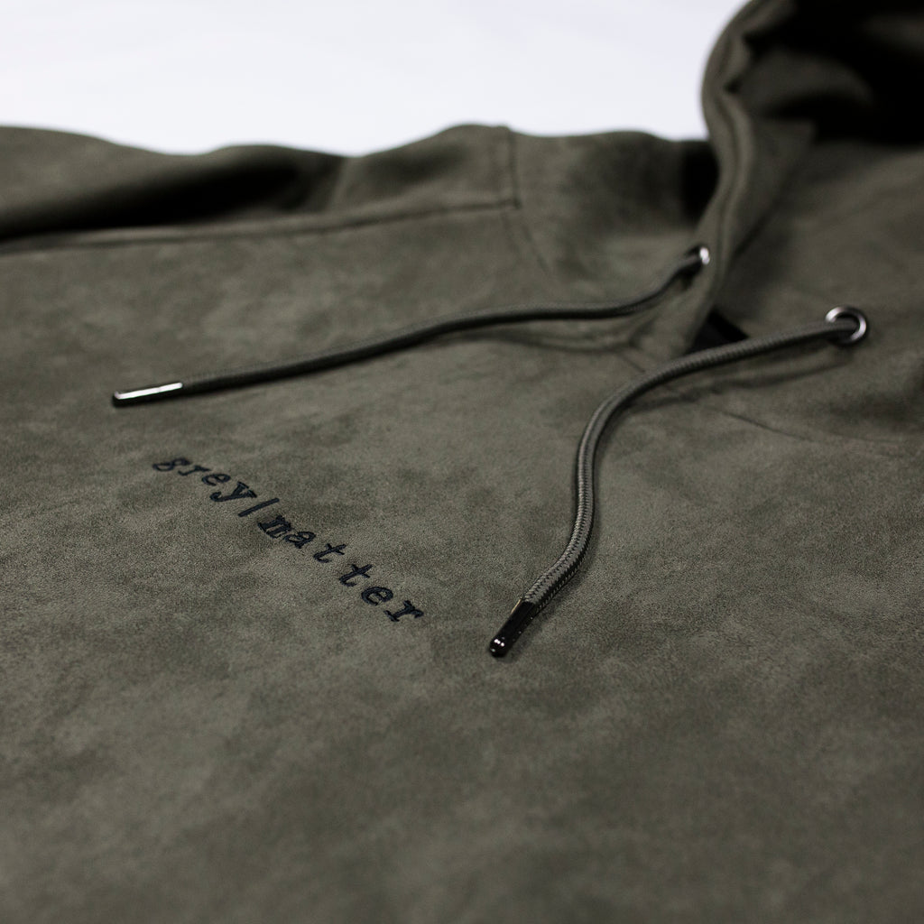 grey-matter-apparel - SEASON ONE - OLIVE FAUX SUEDE HOODED SWEATSHIRT