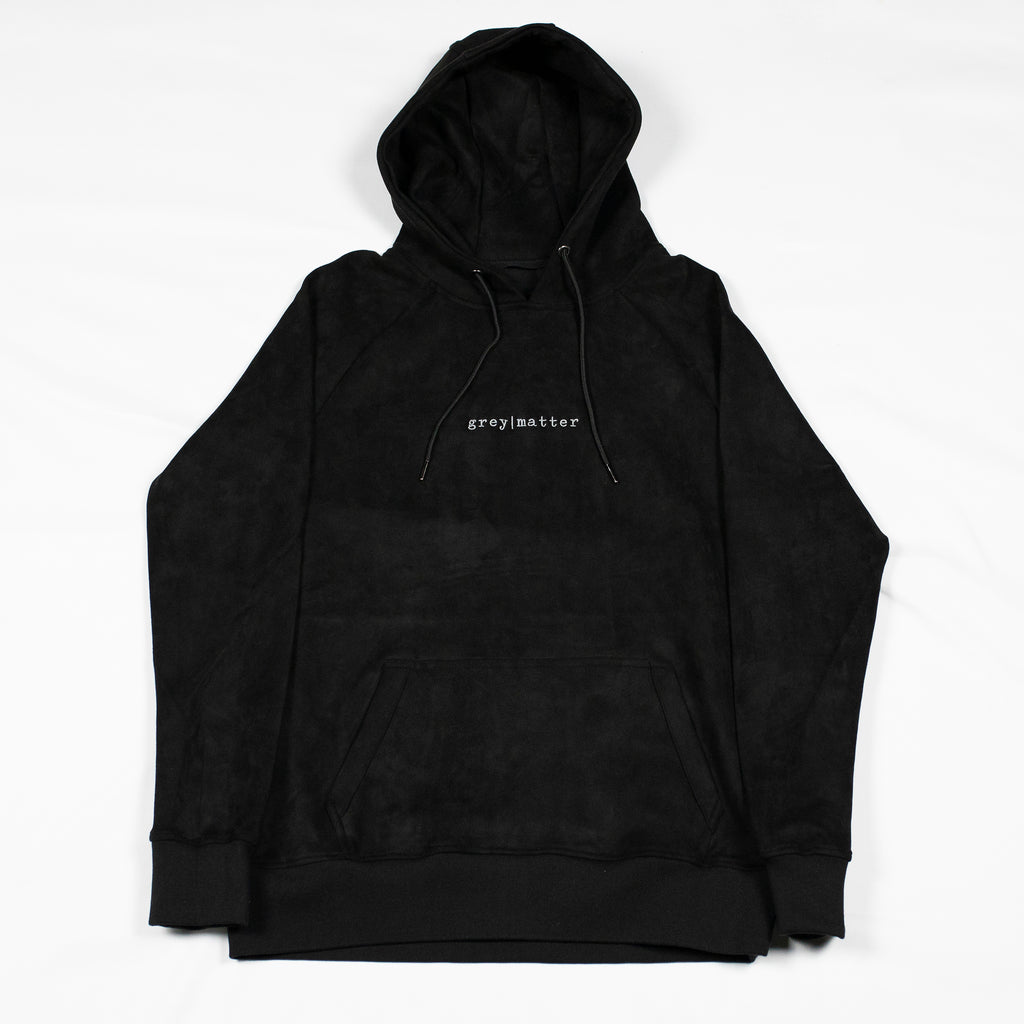 grey-matter-apparel - SEASON ONE - BLACK FAUX SUEDE HOODED SWEATSHIRT