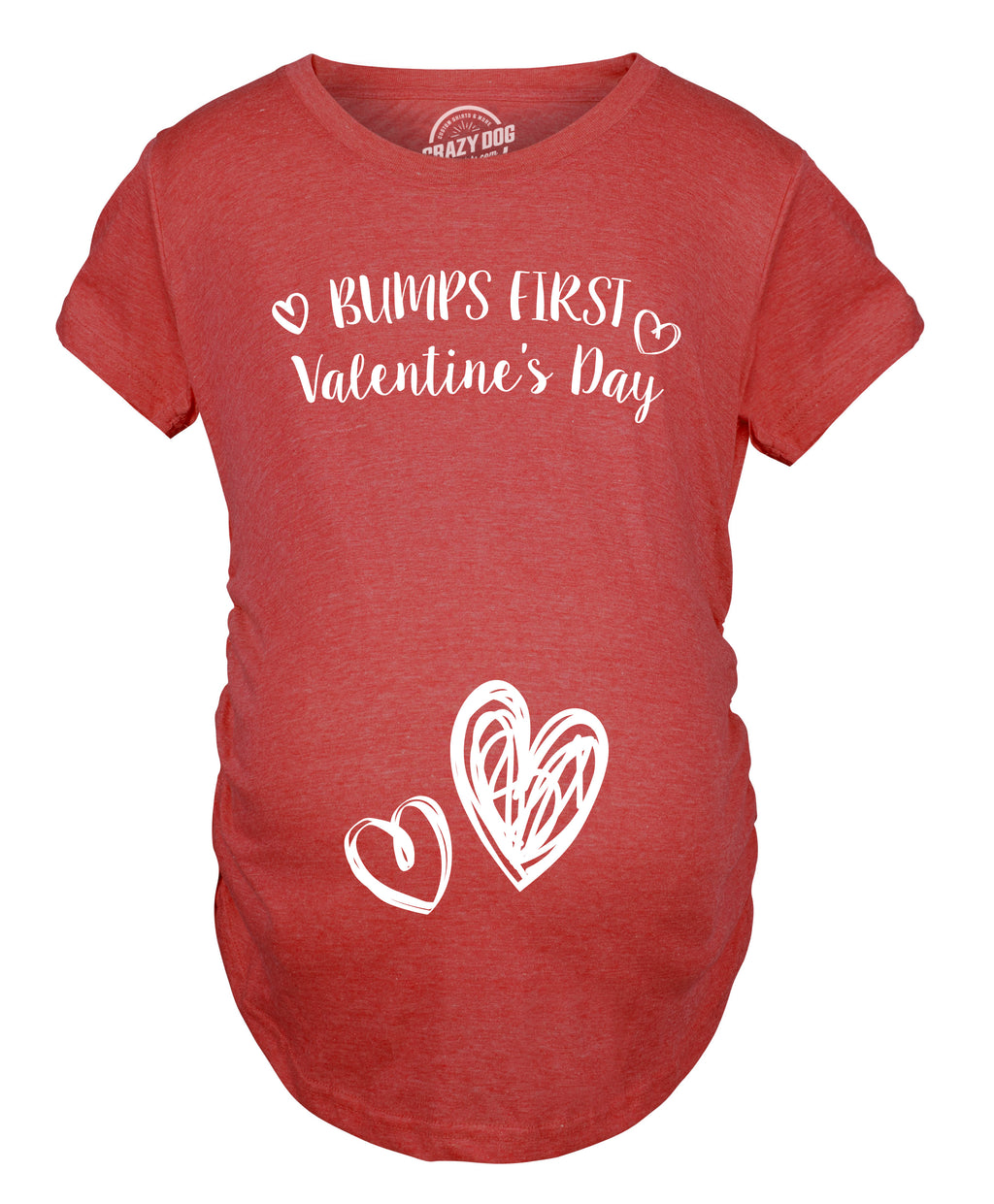 Bumps First Valentine's Day Maternity Shirt Cute Adorable Baby Pregnancy Tee