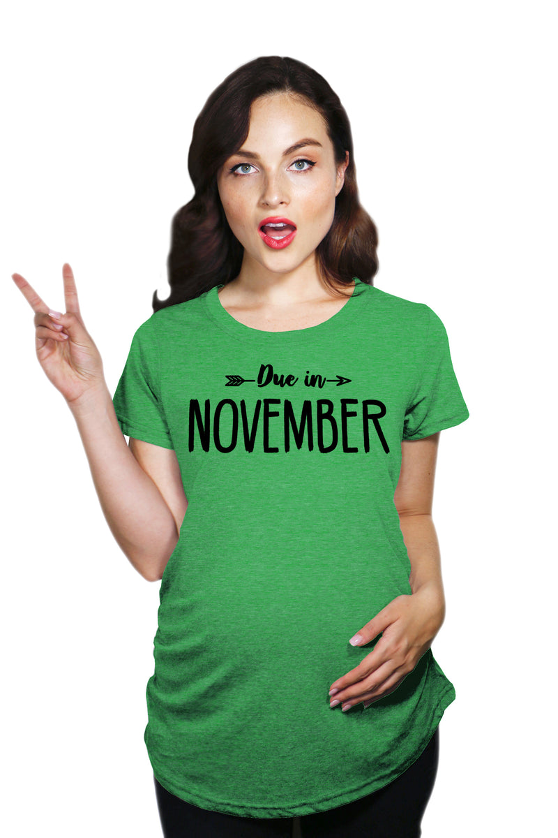 Maternity Due In November Funny T shirts Pregnant Shirts Announce Pregnancy Month Shirt