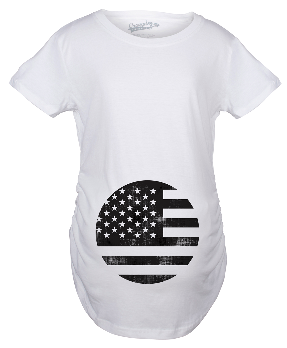 Maternity American Flag Pregnancy Tshirt Cool Patriotic USA Belly Bump Tee