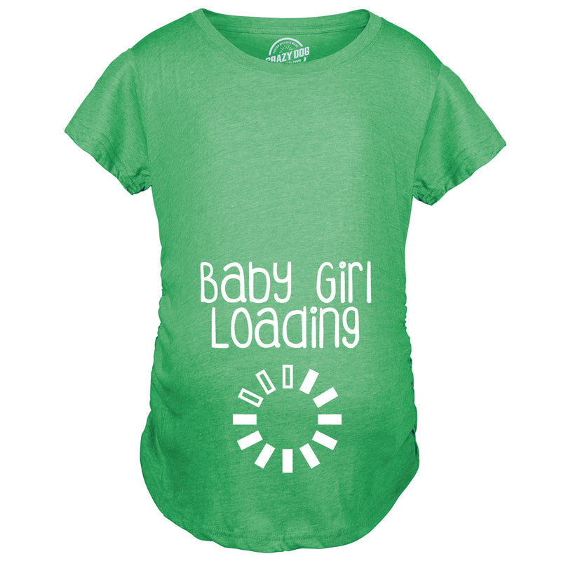 Maternity Baby Girl Loading Tshirt Funny Pregnancy Announcment Tee (Pink)
