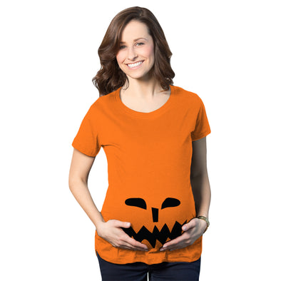 Spikey Teeth Pumpkin Face Maternity Tshirt