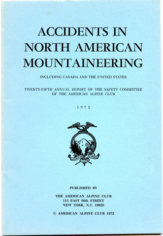 1972 Accidents in North American Mountaineering