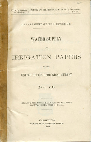 Water-Supply and Irrigation Papers on the USGS No. 53 - Nez Perce County, Idaho
