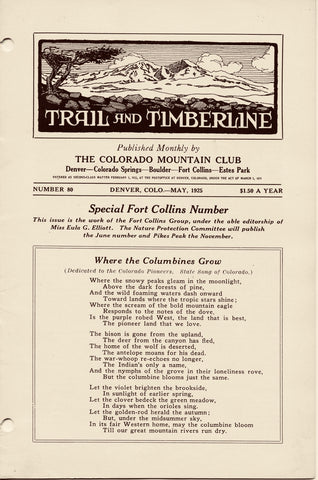 May 1925 - Trail & Timberline - Special Fort Collins Number
