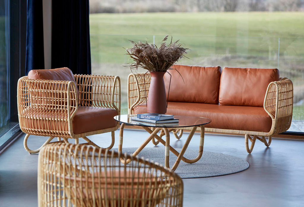 Comfortable rattan lounge furniture with leather cushions