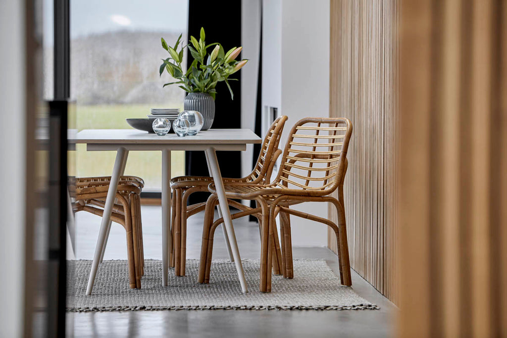 Comfortable rattan dining chairs in sustainable material
