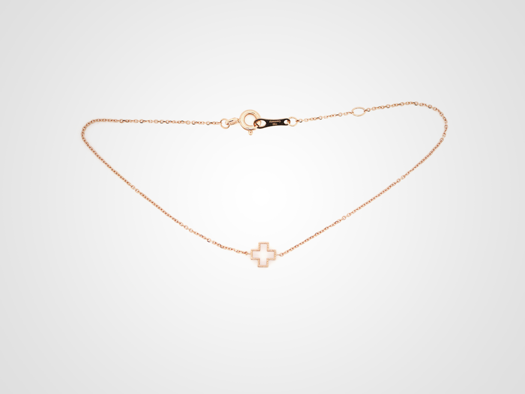 Elegant Cross 18k Rose Bracelet