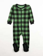 Kids Footed Black & Green Plaid Pajamas