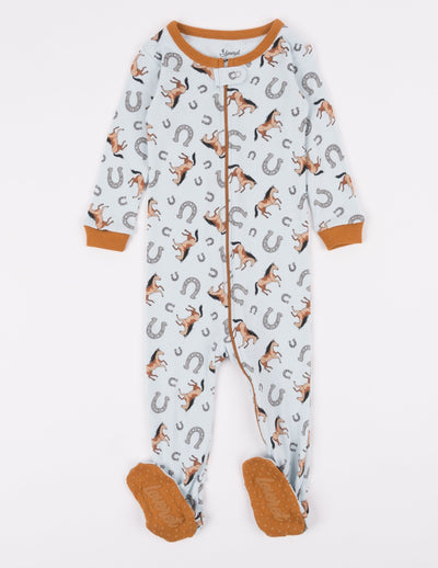 Kids Footed Light Blue Horse Pajamas