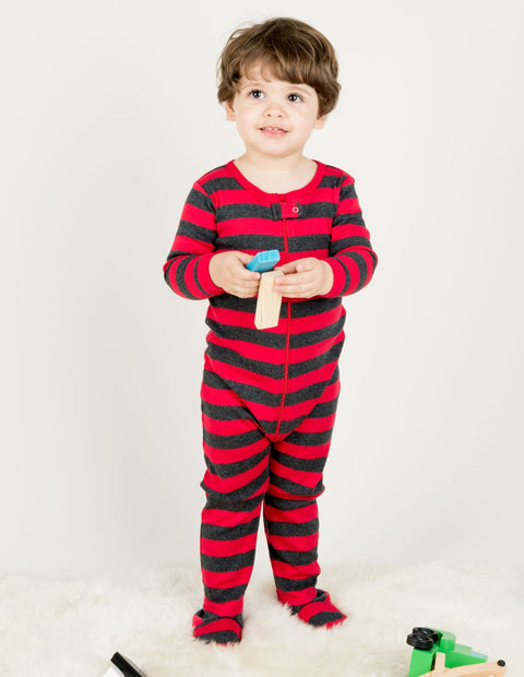 Kids Footed Red & Grey Stripes Pajamas