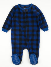Kids Footed Fleece Black & Navy Plaid Pajamas