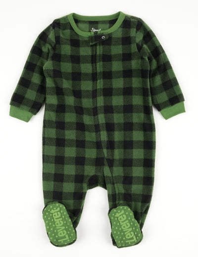 Kids Footed Black & Green Plaid Fleece Pajamas