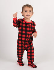 Kids Fleece Red & Black Plaid Footed Pajamas