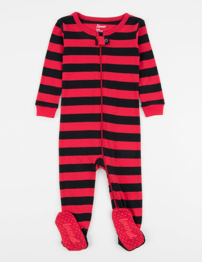 Kids Clearance Red & Black Stripes Cotton Footed Pajamas