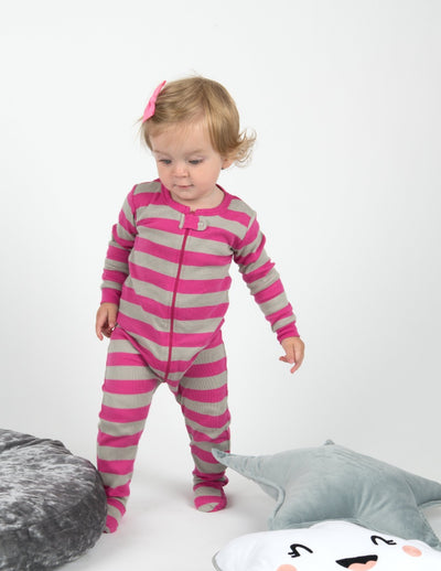 Baby Footed Pink Striped Pajamas