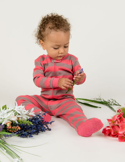 Kids Clearance Footed Rose & Antler Stripes Pajamas