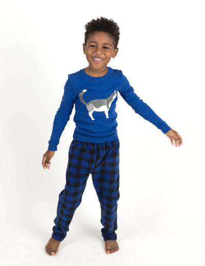 Kids Cotton Top & Fleece Pants Blue Husky Pajamas