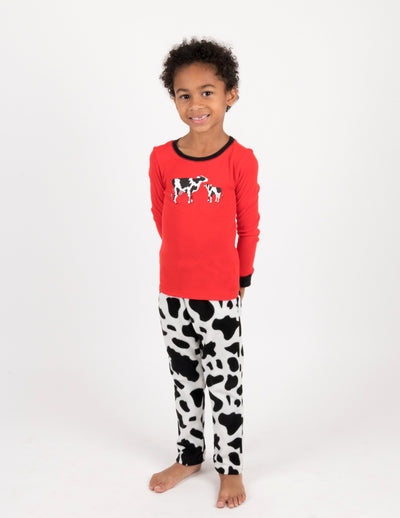 Kids Cotton & Fleece Cow Pajamas