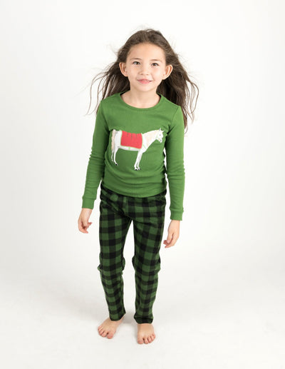 Kids Cotton Top & Fleece Pants Green Horses Pajamas