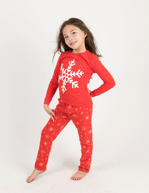 Kids Cotton Top & Fleece Pants White Snowflake Pajamas
