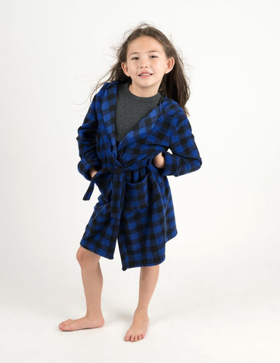 Kids Black & Navy Plaid Fleece Hooded Robe